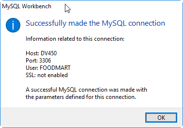 Osb MySQL Workbench connection foodmart test.png